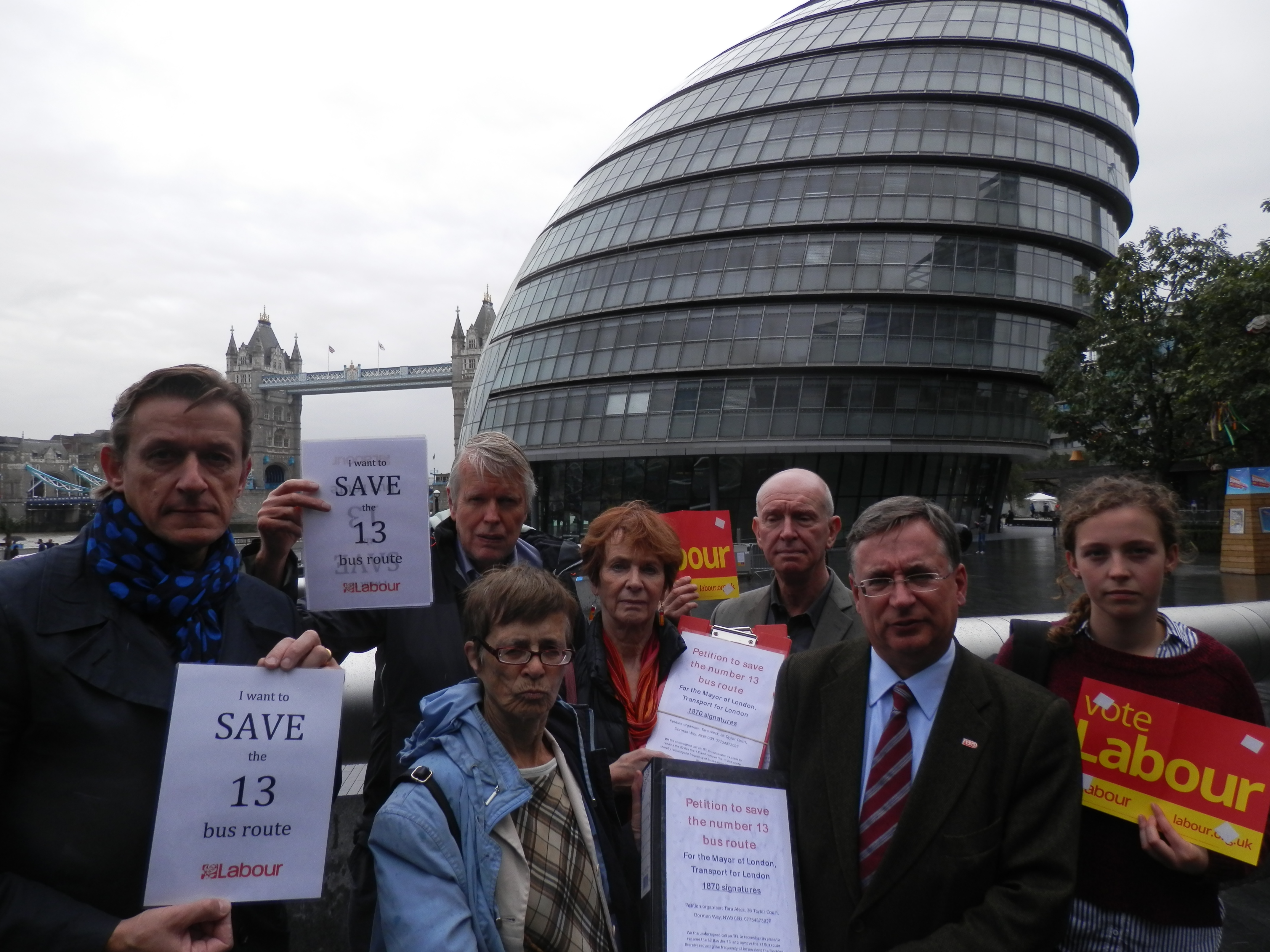 Andrew Dismore AM with 13 bus petitioners, including Cllr Richard Olszewski